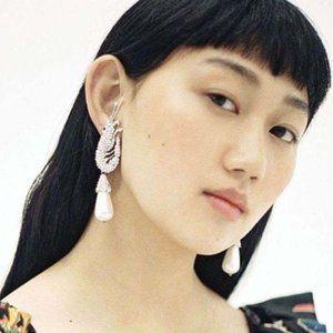 Rhinestone and Pearl Prawn Earrings